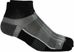 Saucony Mens 3-pk. Pro Inferno Black Quarter Socks Large Bla