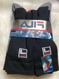 Fila Mens 6-pack AbsordDry Crew Sock