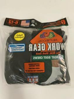 Fruit Of The Loom Mens 6 Pack Black Crew Work Gear Socks Sho