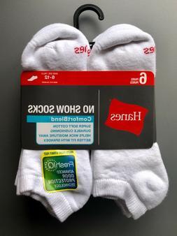 Men's Hanes 6-Pair ComfortBlend White Socks, Size 6-12—