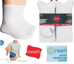 Hanes Mens Big & Tall X-Temp Crew Socks 12 Pack White Size 1