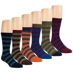 Mens Boot Socks, Winter Thermal Striped Crew Socks, Extreme