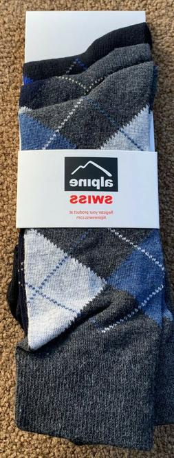 Alpine Swiss Mens Cotton 3 Pack Dress Socks Argyle
