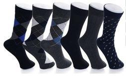 Alpine Swiss Mens Cotton 6 Pack Dress Socks Solid Ribbed Arg