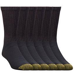 Gold Toe Mens Cotton Crew Athletic Sock, Black,  Shoe Size: