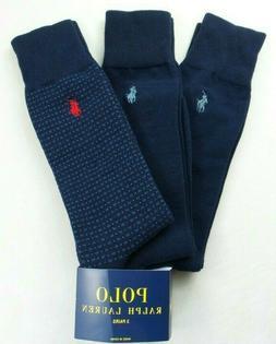 Polo Ralph Lauren Men's Dress Socks 3 Pack L Navy Blue Red