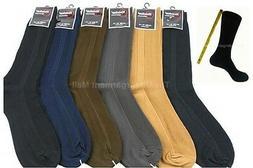 Mens Dress Socks 6 Pairs Lot Ribbed Crew Style Casual Fashio