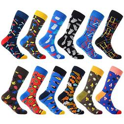 Men's Fun Dress Socks,Colorful Pattern Crazy Novelty Funny