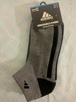 Adidas Mens Low Cut Socks sz 6-12 Gray Black Moisture Wickin