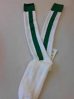 Mens Tube Socks Reach Sports Apparel White W/ Green Stripes