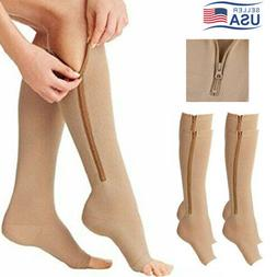 Mens Womens Running Zipper Compression Socks Support Stockin