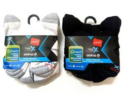Hanes Mens X-Temp Comfort Cool Ankle Socks Large 6-Pairs Bla
