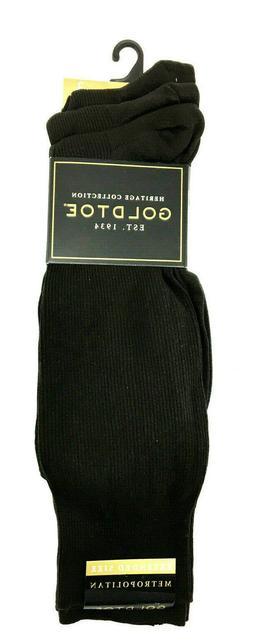 Gold Toe Men's Metropolitan Extended Sock, 3 Pack,Black,13-1