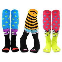TeeHee Monster Socks Fun Socks 3-Pair Pack Cotton Knee High