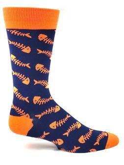 Navy and Neon Orange Fish Bone Crew Dress Socks