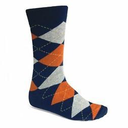 Navy Blue and Orange Argyle Socks