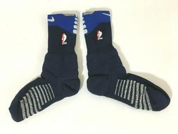 Nike NBA Cushion Navy Blue and White Calf Socks Authentic PS