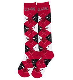 NBA Repeat Logo Argyle Knee High Socks-Medium-Chicago Bulls
