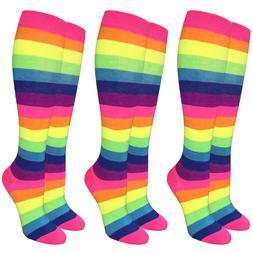 Neon Rainbow Stripe Bright Knee High Socks