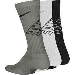 Nike Boys Youth Performance Crew Socks 3Pk Black/White/Gray