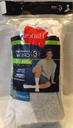 NEW Hanes FreshIQ 5-Pack Men's Cushioned Cool-Dri Crew Socks