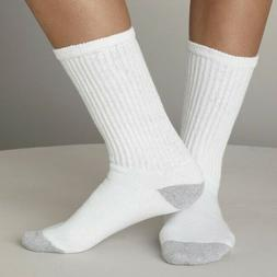 New Lot 12 Pairs Men's White Solid Sports Crew Socks Cotton