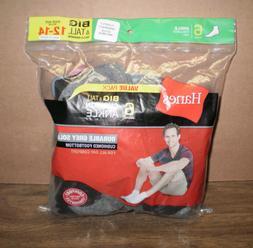 New Men's Hanes 6 Pack Cushion  Big & Tall  Black Ankle Sock