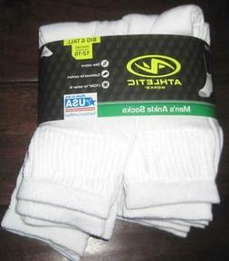 NEW ATHLETIC WORKS MENS ANKLE SOCKS 6 Pairs Soft White 12-15