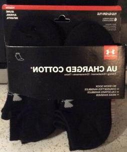 NEW UA Under Armour Charged Cotton No Show Socks 6 Pair Yout