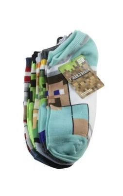 New Minecraft Youth Boys Socks Sz 4-10 Large No Show Socks 5
