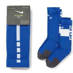 New Nike Youth Kids Boys 2PK Elite Crew Socks Blue/White Siz