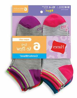 Hanes No-Show Socks 6-Pack Girls Fashion ComfortBlend Assort