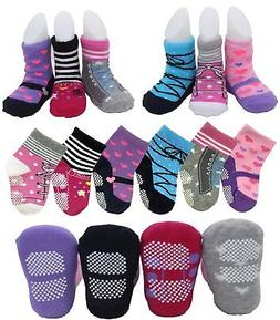 6 Pairs Non Skid Dress Socks Toddler Baby Girls Multicolored