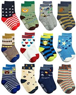 Deluxe Non Slip Anti Skid Slipper Cotton Crew Dress Socks Wi