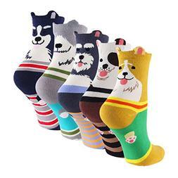 Novelty Cartoon Fuzzy Crew Socks - KEAZA XG01 3D Dog Charact