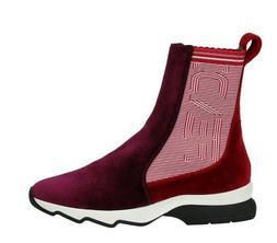 NWOB Fendi Velvet Sock Sneakers Slip On 36 6 Logo Red Wine $