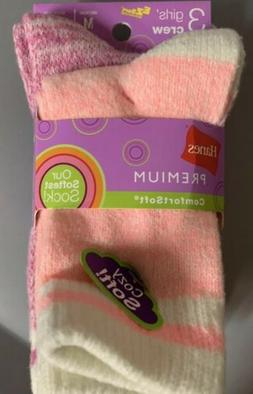 NWT 3 Pair Hanes Girls Crew Ezsort Crew Socks Comfort Soft S