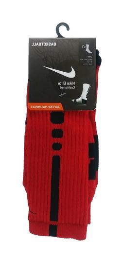 NWT NIKE Elite Cushioned Crew Basketball Socks Red/Black L S