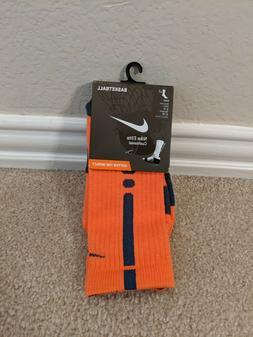 NWT Nike Elite orange / navy basketball crew socks medium