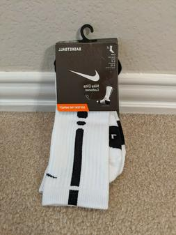 NWT Nike Elite white / black basketball crew socks medium