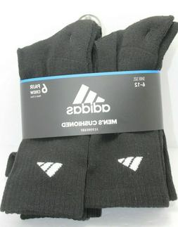 NWT ADIDAS Men Black Crew Cushioned Sport Socks 6-Pack 6 Pai