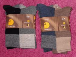 NWT- Carhartt Men's 4 Pair Pack Wool Blend Crew Socks - L La