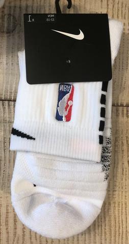 NWT! NBA Nike Elite Basketball Quarter Length Socks Black/Wh
