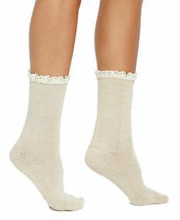 Women's HUE Hosiery Ivory Lace Trim Socks OSFM