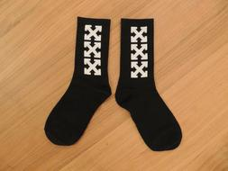 Off White Inspired 100% Cotton White Crossover Black Socks N