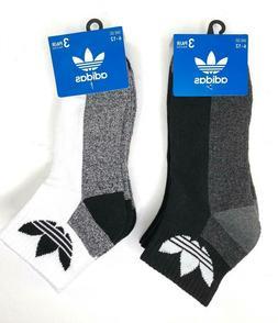 adidas Originals Men's Trefoil Quarter Socks 3 Pairs Grey Bl