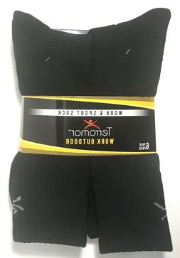 TERRAMAR MEN'S OUTDOOR WORK & SPORT SOCK 6-PR BLACK SIZE XL