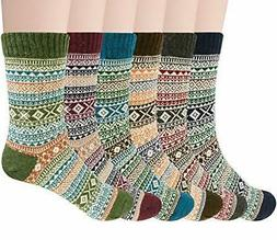 Pack of 5 Womens Winter Socks Warm Thick Knit Wool )