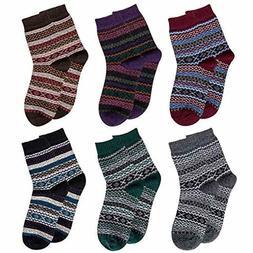 Pack of 5 Womens Winter Socks Warm Thick Knit Wool Soft Vint