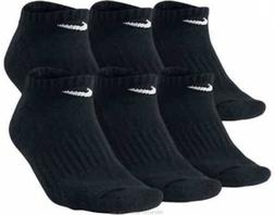 NIKE Performance Black Cushion No-Show Socks~6 PAIR~Mens 8-1